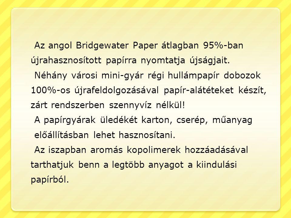 Az angol Bridgewater Paper átlagban 95%-ban újrahasznosított papírra nyomtatja újságjait. Néhány városi mini-gyár régi hullámpapír dobozok 100%-os újr