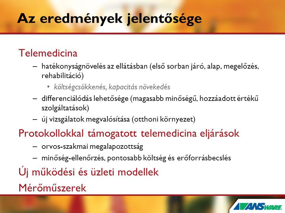 Az eredmények jelentősége Telemedicina – hatékonyságnövelés az ellátásban (első sorban járó, alap, megelőzés, rehabilitáció) • költségcsökkenés, kapac