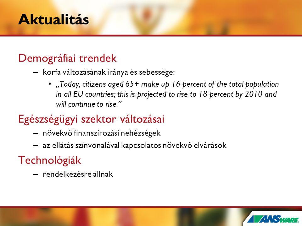"""Aktualitás Demográfiai trendek – korfa változásának iránya és sebessége: • """"Today, citizens aged 65+ make up 16 percent of the total population in all"""