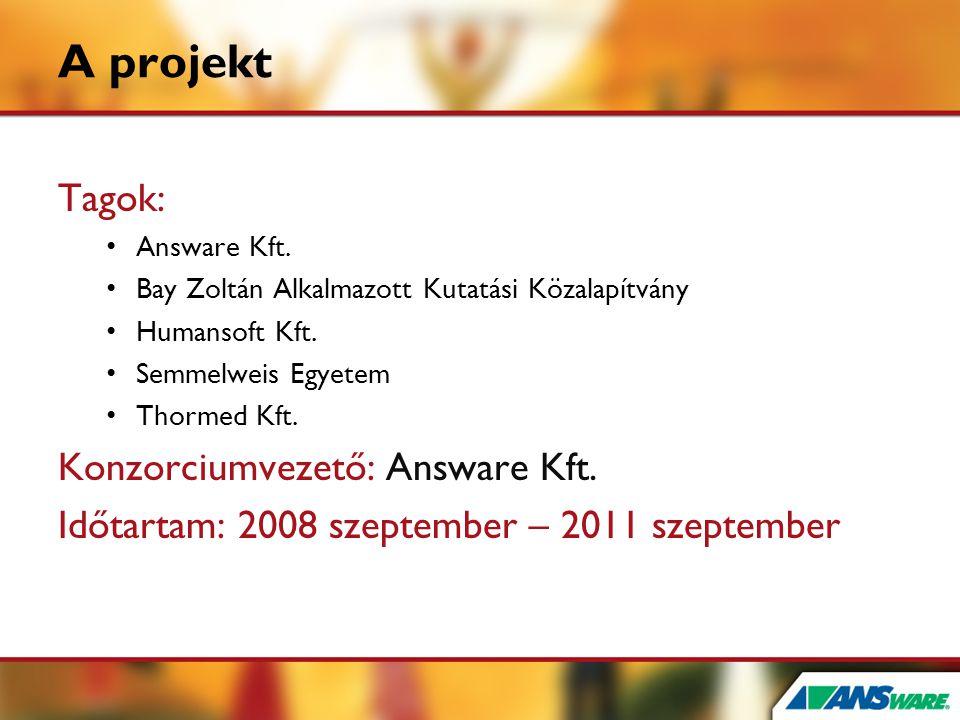 A projekt Tagok: • Answare Kft. • Bay Zoltán Alkalmazott Kutatási Közalapítvány • Humansoft Kft. • Semmelweis Egyetem • Thormed Kft. Konzorciumvezető: