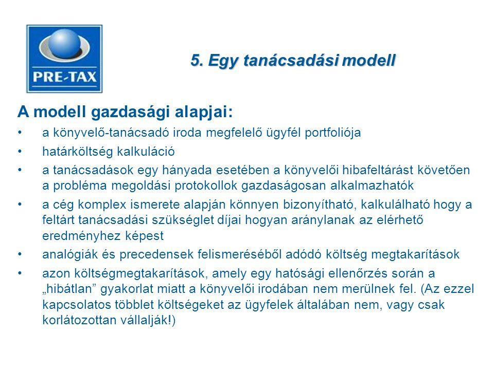5. Egy tanácsadási modell A modell gazdasági alapjai: •a könyvelő-tanácsadó iroda megfelelő ügyfél portfoliója •határköltség kalkuláció •a tanácsadáso