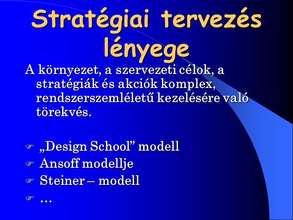 """Stratégiai tervezés lényege Akörnyezet, a szervezeti célok, a stratégiák és akciók komplex, rendszerszemléletű kezelésére való törekvés. """"Design Scho"""