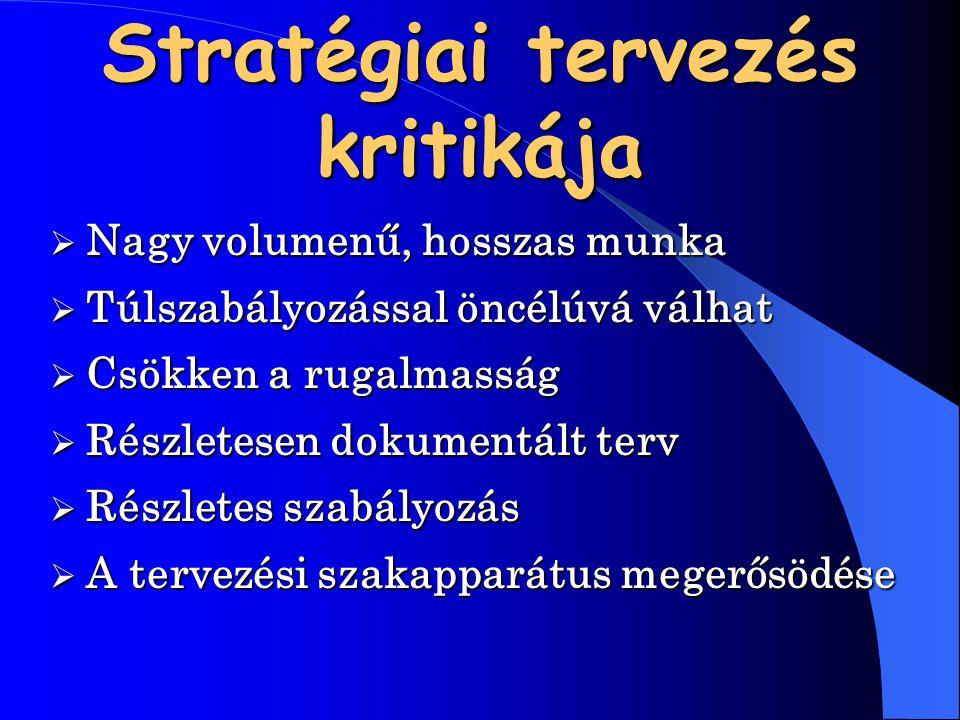 Stratégiai tervezés kritikája  Nagy  Nagy volumenű, hosszas munka  Túlszabályozással  Túlszabályozással öncélúvá válhat  Csökken  Csökken a ruga