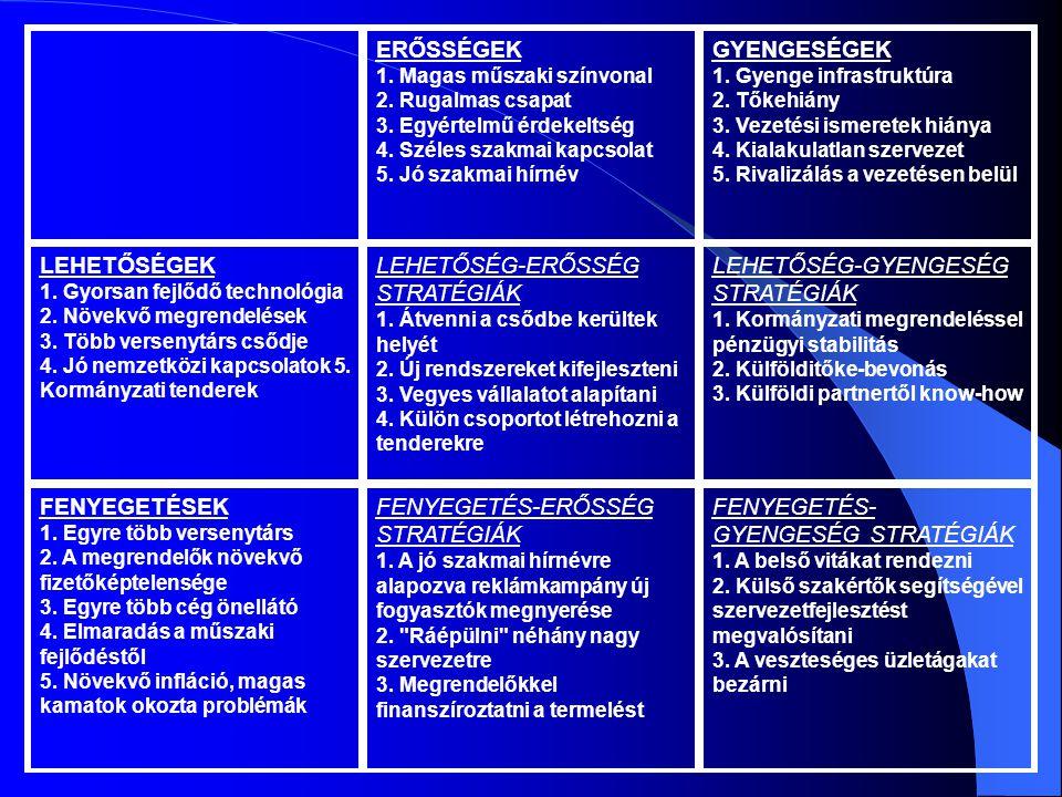 ERŐSSÉGEK 1. Magas műszaki színvonal 2. Rugalmas csapat 3. Egyértelmű érdekeltség 4. Széles szakmai kapcsolat 5. Jó szakmai hírnév GYENGESÉGEK 1. Gyen