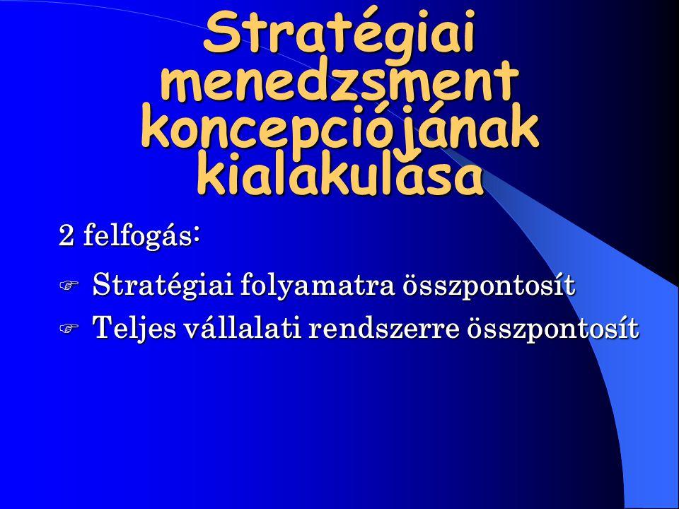 Stratégiai menedzsment koncepciójának kialakulása 2 felfogás: Stratégiai folyamatra összpontosít Teljes vállalati rendszerre összpontosít