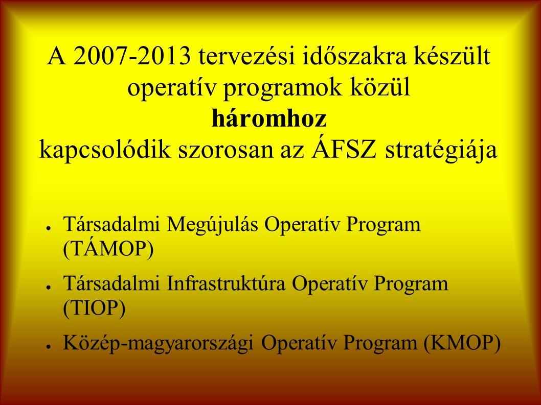 A 2007-2013 tervezési időszakra készült operatív programok közül háromhoz kapcsolódik szorosan az ÁFSZ stratégiája ● Társadalmi Megújulás Operatív Program (TÁMOP) ● Társadalmi Infrastruktúra Operatív Program (TIOP) ● Közép-magyarországi Operatív Program (KMOP)