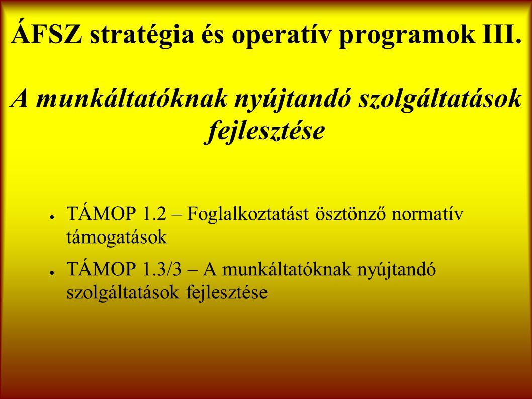 ÁFSZ stratégia és operatív programok III.