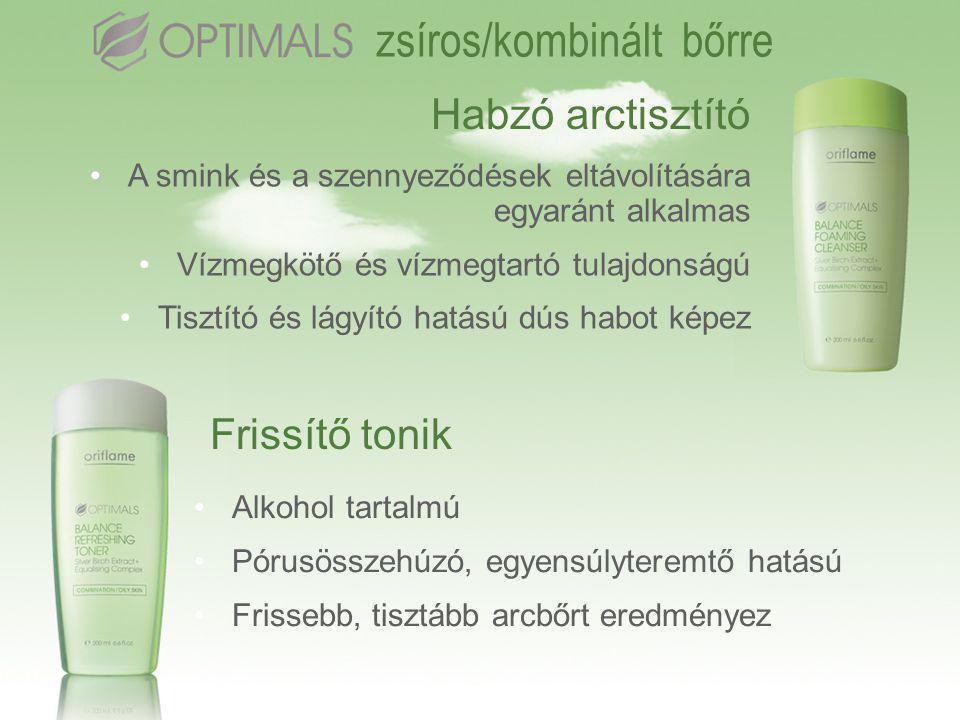 Habzó arctisztító •A smink és a szennyeződések eltávolítására egyaránt alkalmas •Vízmegkötő és vízmegtartó tulajdonságú •Tisztító és lágyító hatású dús habot képez Frissítő tonik •Alkohol tartalmú •Pórusösszehúzó, egyensúlyteremtő hatású •Frissebb, tisztább arcbőrt eredményez zsíros/kombinált bőrre