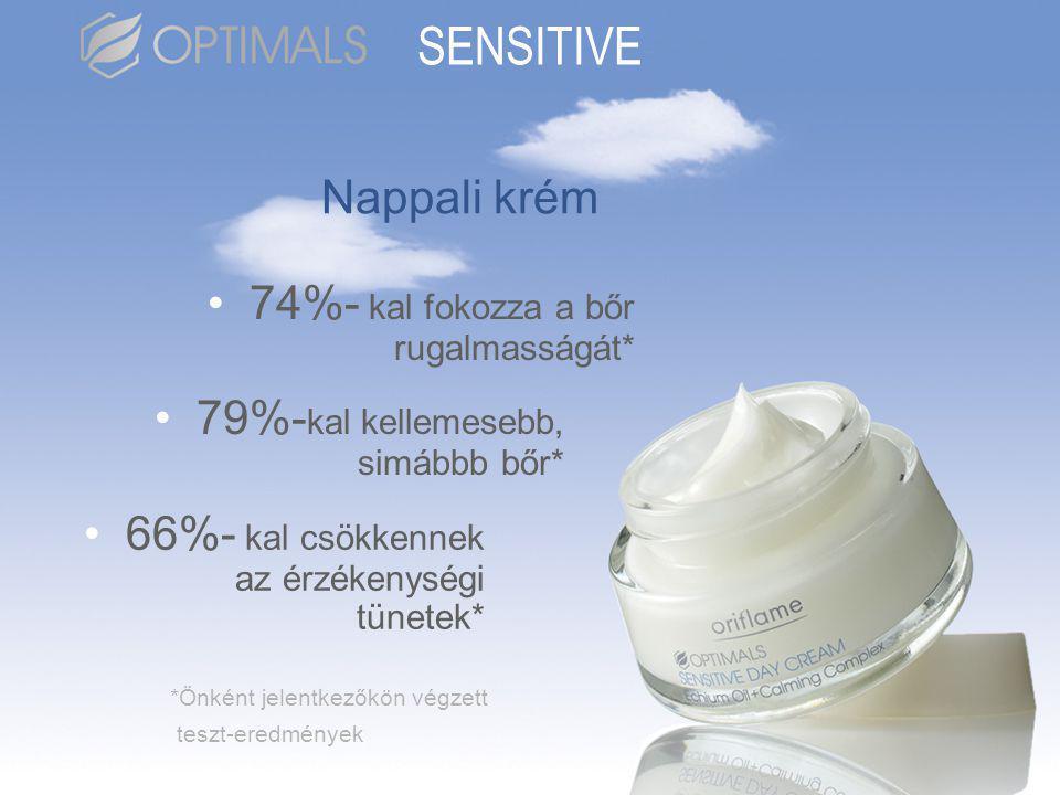 Nappali krém •74%- kal fokozza a bőr rugalmasságát* •79%- kal kellemesebb, simábbb bőr* •66%- kal csökkennek az érzékenységi tünetek* *Önként jelentkezőkön végzett teszt-eredmények SENSITIVE