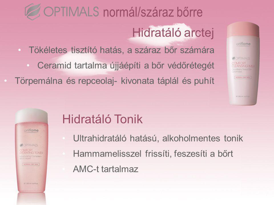 Hidratáló arctej normál/száraz bőrre •Tökéletes tisztító hatás, a száraz bőr számára •Ceramid tartalma újjáépíti a bőr védőrétegét •Törpemálna és repceolaj- kivonata táplál és puhít Hidratáló Tonik •Ultrahidratáló hatású, alkoholmentes tonik •Hammamelisszel frissíti, feszesíti a bőrt •AMC-t tartalmaz