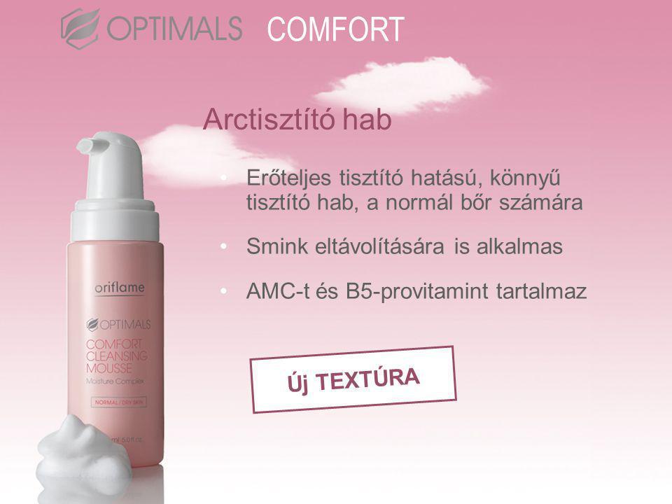 Arctisztító hab •Erőteljes tisztító hatású, könnyű tisztító hab, a normál bőr számára •Smink eltávolítására is alkalmas •AMC-t és B5-provitamint tartalmaz Új TEXTÚRA COMFORT