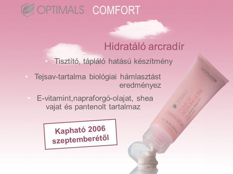 Hidratáló arcradír •Tisztító, tápláló hatású készítmény •Tejsav-tartalma biológiai hámlasztást eredményez •E-vitamint,napraforgó-olajat, shea vajat és pantenolt tartalmaz Kapható 2006 szeptemberétől COMFORT