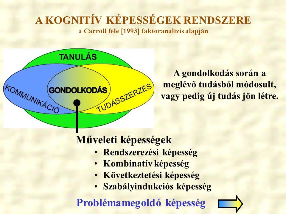 A KOGNITÍV KÉPESSÉGEK RENDSZERE a Carroll féle [1993] faktoranalízis alapján A gondolkodás során a meglévő tudásból módosult, vagy pedig új tudás jön