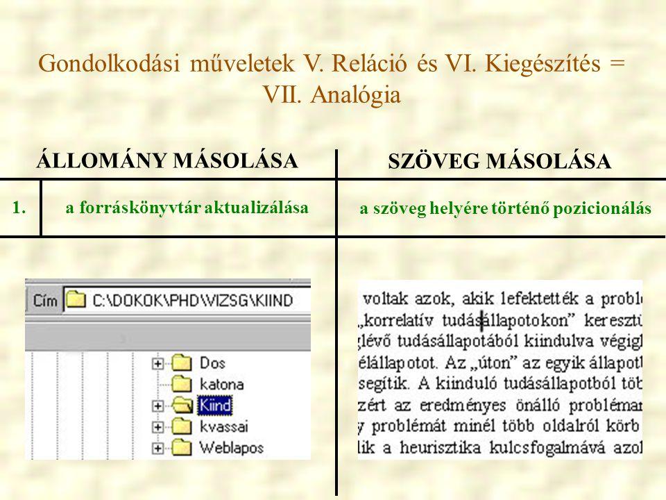ÁLLOMÁNY MÁSOLÁSA SZÖVEG MÁSOLÁSA a forráskönyvtár aktualizálása a szöveg helyére történő pozicionálás 1. Gondolkodási műveletek V. Reláció és VI. Kie