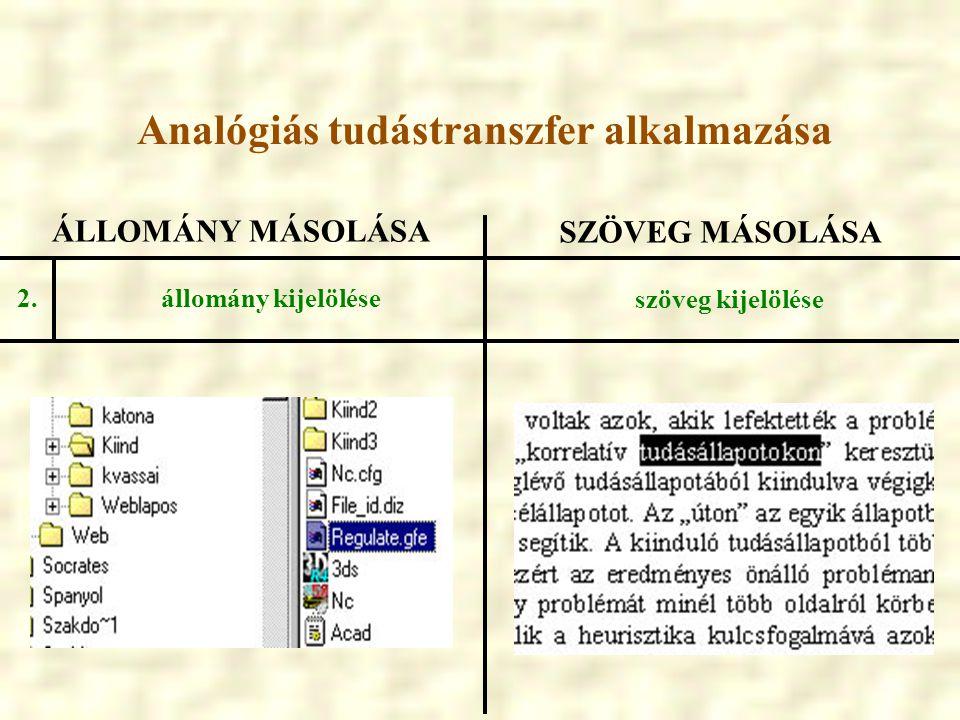 ÁLLOMÁNY MÁSOLÁSA SZÖVEG MÁSOLÁSA állomány kijelölése szöveg kijelölése 2. Analógiás tudástranszfer alkalmazása