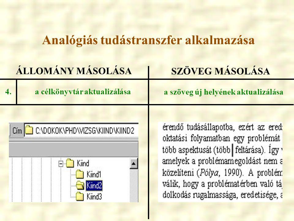 ÁLLOMÁNY MÁSOLÁSA SZÖVEG MÁSOLÁSA a célkönyvtár aktualizálása a szöveg új helyének aktualizálása 4. Analógiás tudástranszfer alkalmazása