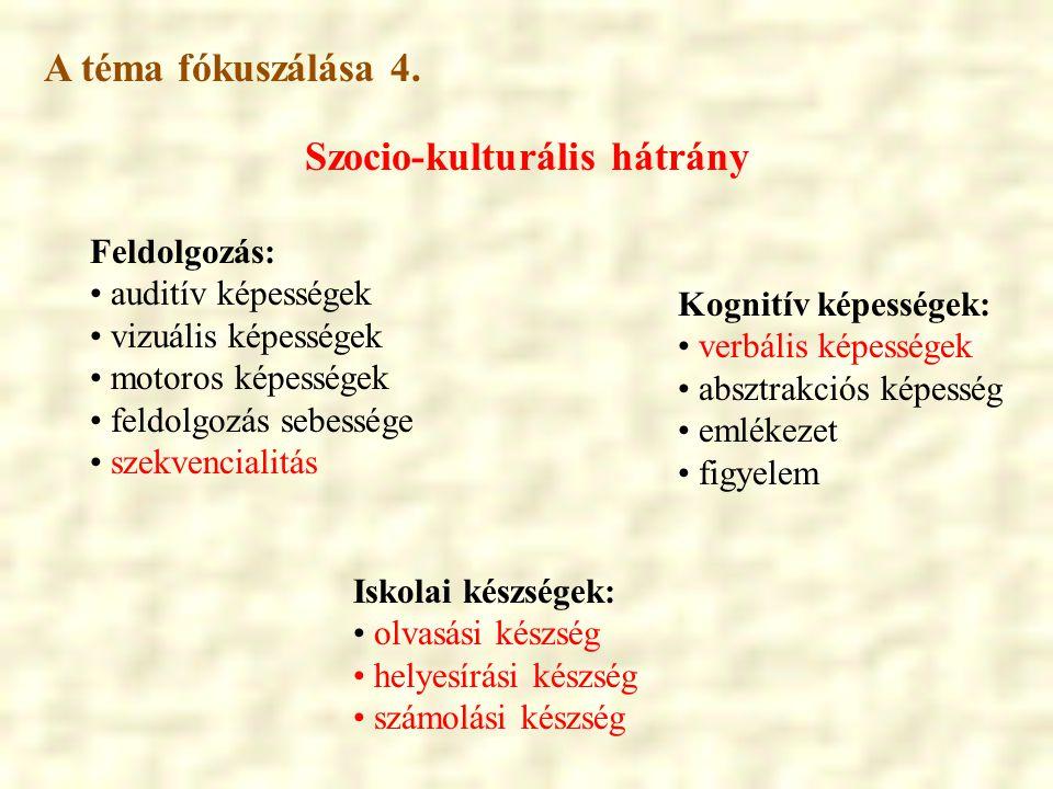 Szocio-kulturális hátrány Iskolai készségek: • olvasási készség • helyesírási készség • számolási készség Feldolgozás: • auditív képességek • vizuális