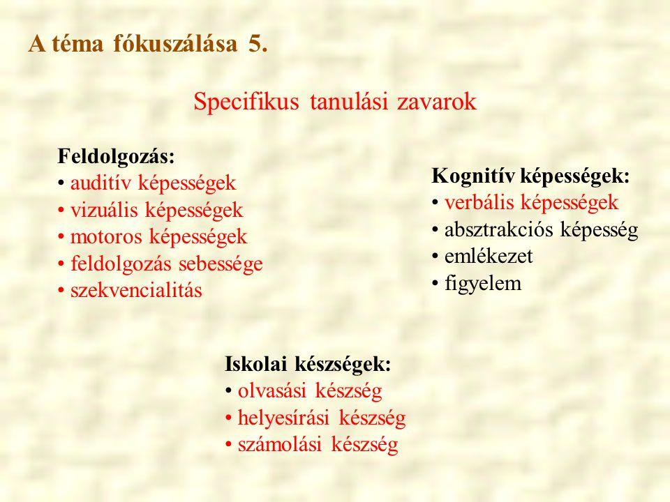 Specifikus tanulási zavarok Iskolai készségek: • olvasási készség • helyesírási készség • számolási készség Feldolgozás: • auditív képességek • vizuál