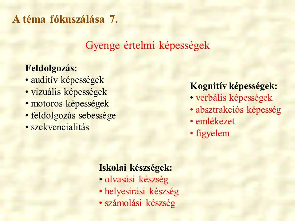 Gyenge értelmi képességek Iskolai készségek: • olvasási készség • helyesírási készség • számolási készség Feldolgozás: • auditív képességek • vizuális