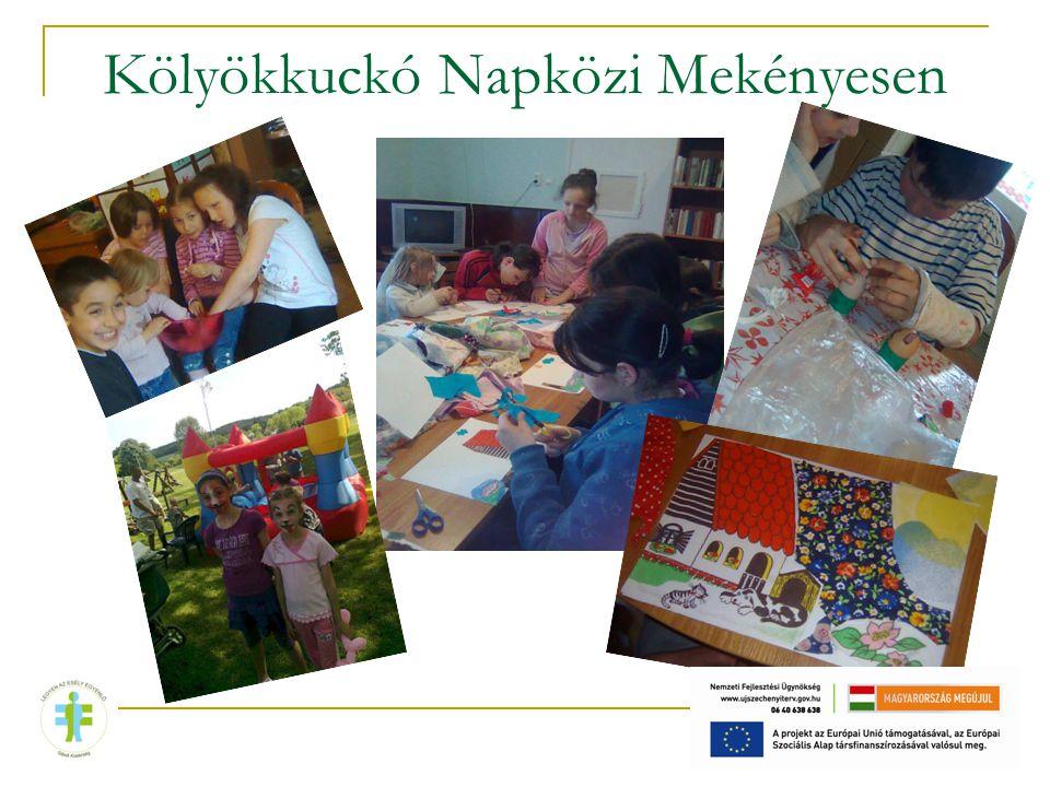 Beiratkozott: 32 fő, ebből 8 fő 7 év alatti, 24 fő iskoláskorú Tanulás segítés Iskola előkészítő foglalkozások Nyári étkeztetés 30 gyereknek Kézműves foglalkozások Táborozás,kirándulás Mozi látogatás Európa nap Idősek napja Gyermeknap Környezetvédelmi projekt Kicsiknek délelőtt játszóház Kupakgyűjtés