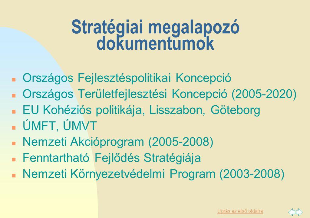 Ugrás az első oldalra Stratégiai megalapozó dokumentumok n Országos Fejlesztéspolitikai Koncepció n Országos Területfejlesztési Koncepció (2005-2020) n EU Kohéziós politikája, Lisszabon, Göteborg n ÚMFT, ÚMVT n Nemzeti Akcióprogram (2005-2008) n Fenntartható Fejlődés Stratégiája n Nemzeti Környezetvédelmi Program (2003-2008)