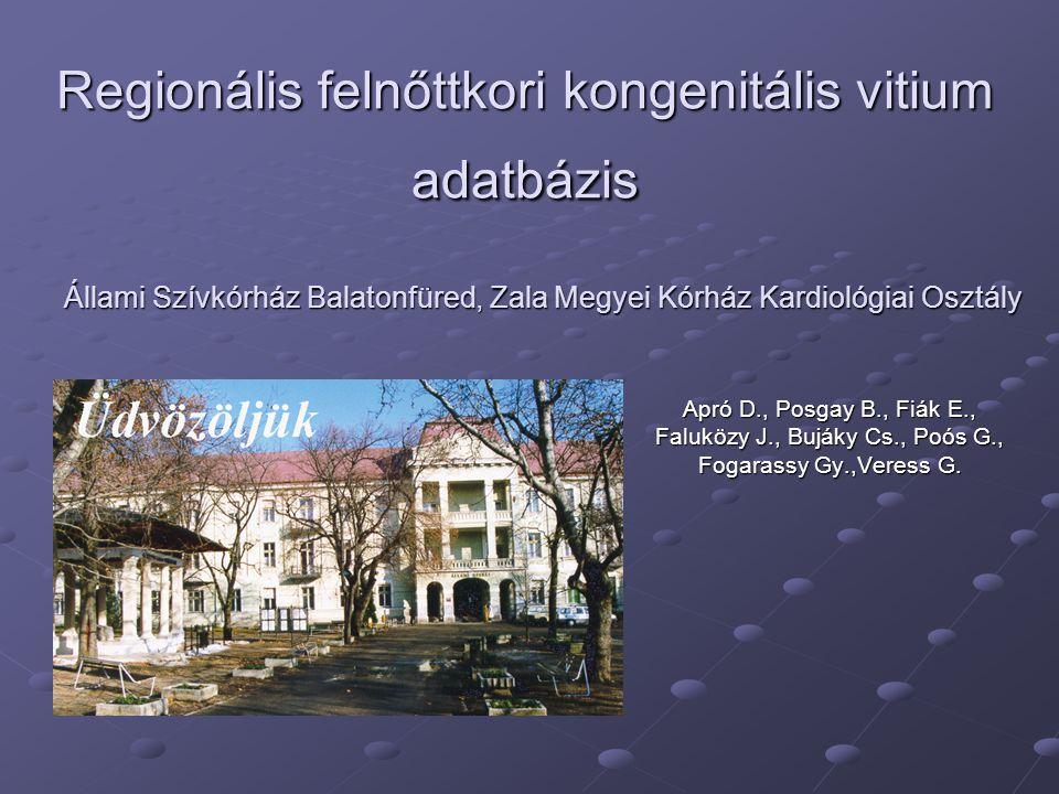 Regionális felnőttkori kongenitális vitium adatbázis Apró D., Posgay B., Fiák E., Faluközy J., Bujáky Cs., Poós G., Fogarassy Gy.,Veress G. Állami Szí