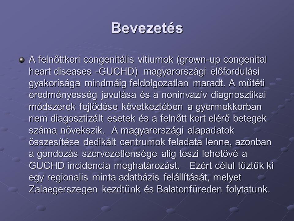 Bevezetés A felnőttkori congenitális vitiumok (grown-up congenital heart diseases -GUCHD) magyarországi előfordulási gyakorisága mindmáig feldolgozatl