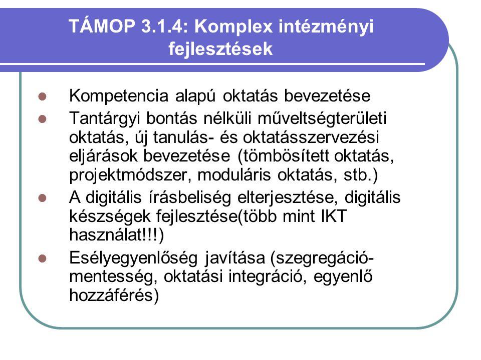 TÁMOP 3.1.4: Komplex intézményi fejlesztések  Kompetencia alapú oktatás bevezetése  Tantárgyi bontás nélküli műveltségterületi oktatás, új tanulás-