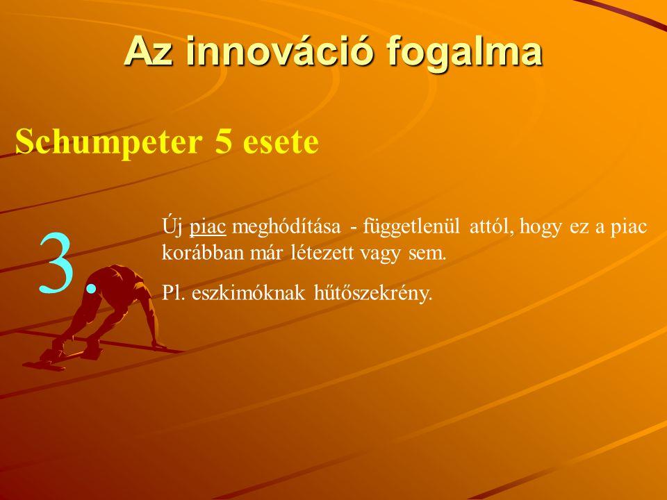 Az innováció fogalma Schumpeter 5 esete Új piac meghódítása - függetlenül attól, hogy ez a piac korábban már létezett vagy sem. Pl. eszkimóknak hűtősz