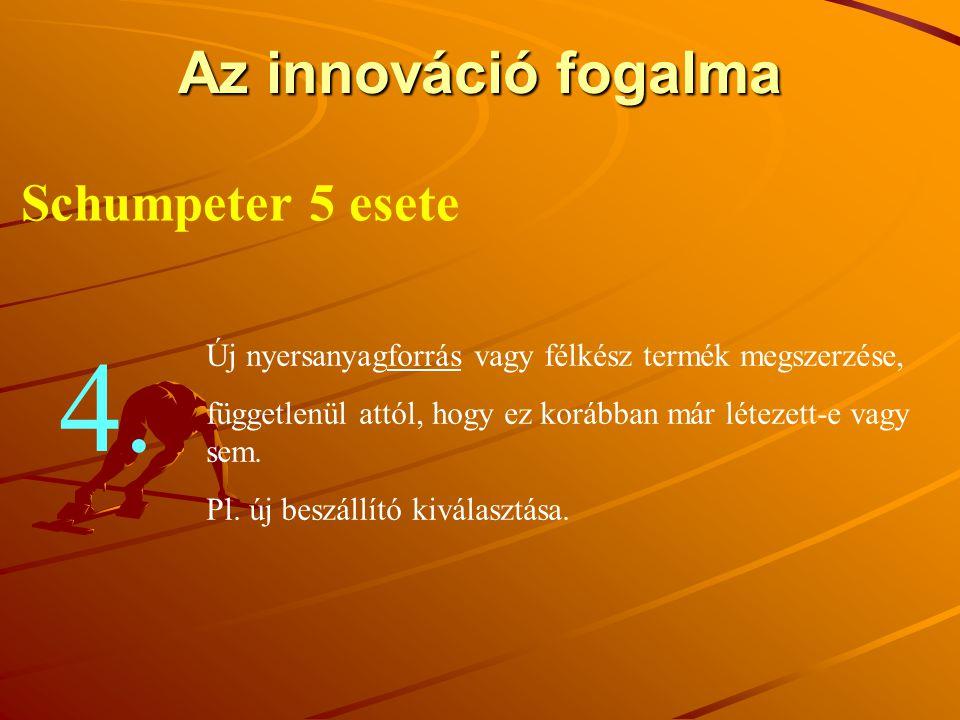Az innováció fogalma Schumpeter 5 esete Új nyersanyagforrás vagy félkész termék megszerzése, függetlenül attól, hogy ez korábban már létezett-e vagy s
