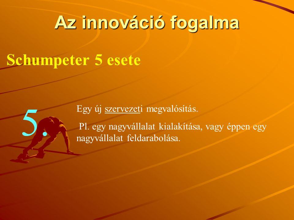 Az innováció fogalma Schumpeter 5 esete Egy új szervezeti megvalósítás. Pl. egy nagyvállalat kialakítása, vagy éppen egy nagyvállalat feldarabolása. 5
