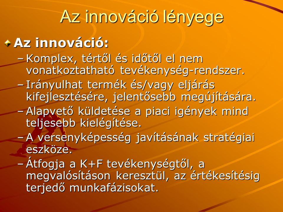Az innováció: –Komplex, tértől és időtől el nem vonatkoztatható tevékenység-rendszer. –Irányulhat termék és/vagy eljárás kifejlesztésére, jelentősebb