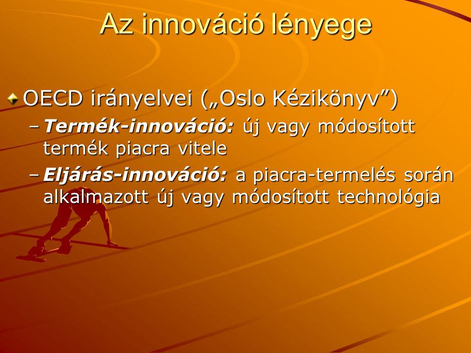 """OECD irányelvei (""""Oslo Kézikönyv"""") –Termék-innováció: új vagy módosított termék piacra vitele –Eljárás-innováció: a piacra-termelés során alkalmazott"""