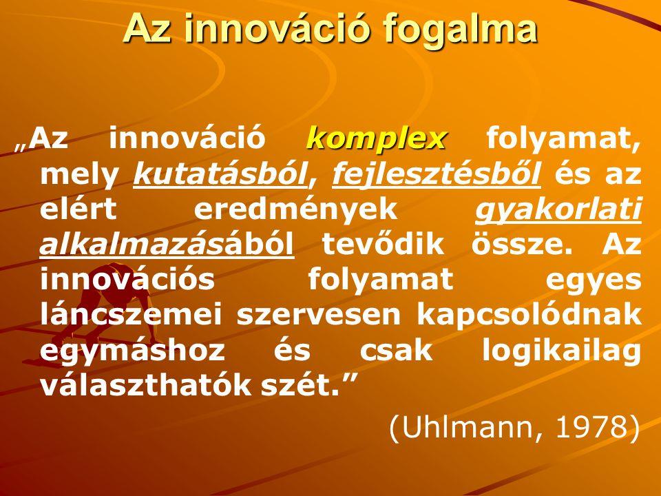 """Az innováció fogalma Célok és eszközök (termelési tényezők) újszerű kombinációja Az innováció valójában két folyamat eredménye születnek új ötletek bizonyos problémák megoldására """"technology push kialakulnak új igények bizonyos problémák megoldására """" demand pull"""