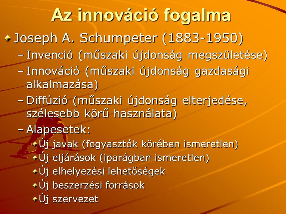 Az innováció fogalma Joseph A. Schumpeter (1883-1950) –Invenció (műszaki újdonság megszületése) –Innováció (műszaki újdonság gazdasági alkalmazása) –D