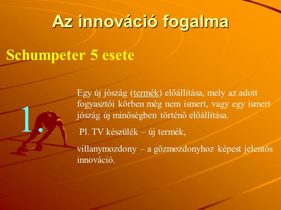 Az innováció fogalma Schumpeter 5 esete Egy új jószág (termék) előállítása, mely az adott fogyasztói körben még nem ismert, vagy egy ismert jószág új