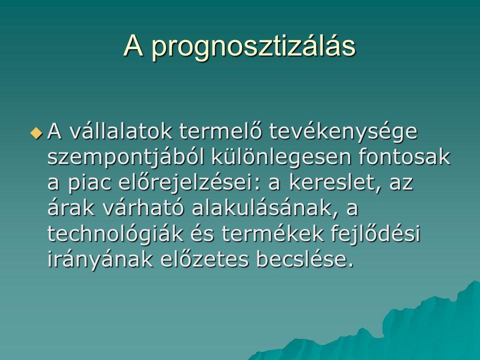 A prognosztizálás  A vállalatok termelő tevékenysége szempontjából különlegesen fontosak a piac előrejelzései: a kereslet, az árak várható alakulásának, a technológiák és termékek fejlődési irányának előzetes becslése.