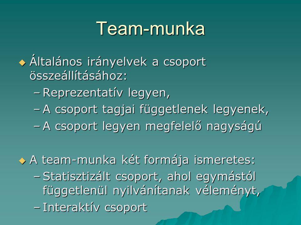Team-munka  Általános irányelvek a csoport összeállításához: –Reprezentatív legyen, –A csoport tagjai függetlenek legyenek, –A csoport legyen megfelelő nagyságú  A team-munka két formája ismeretes: –Statisztizált csoport, ahol egymástól függetlenül nyilvánítanak véleményt, –Interaktív csoport