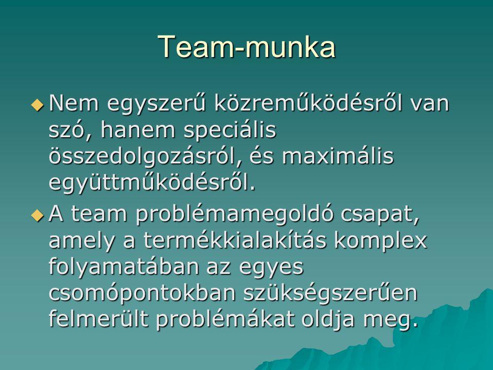 Team-munka  Nem egyszerű közreműködésről van szó, hanem speciális összedolgozásról, és maximális együttműködésről.