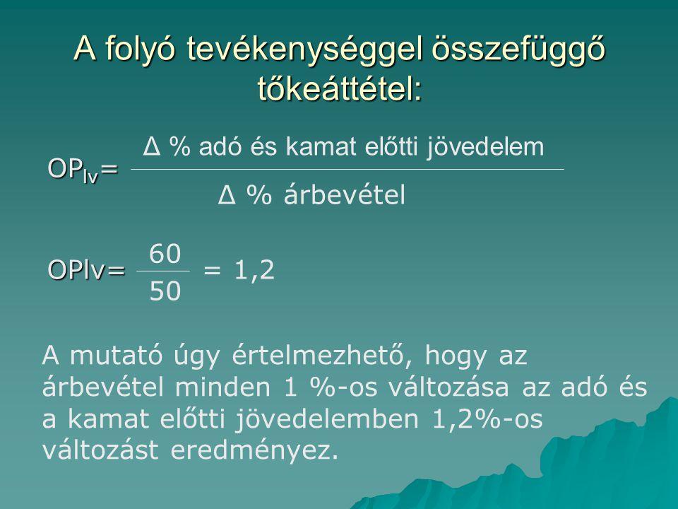 A folyó tevékenységgel összefüggő tőkeáttétel: OP lv = Δ % adó és kamat előtti jövedelem Δ % árbevétel OPlv= 60 50 = 1,2 A mutató úgy értelmezhető, hogy az árbevétel minden 1 %-os változása az adó és a kamat előtti jövedelemben 1,2%-os változást eredményez.