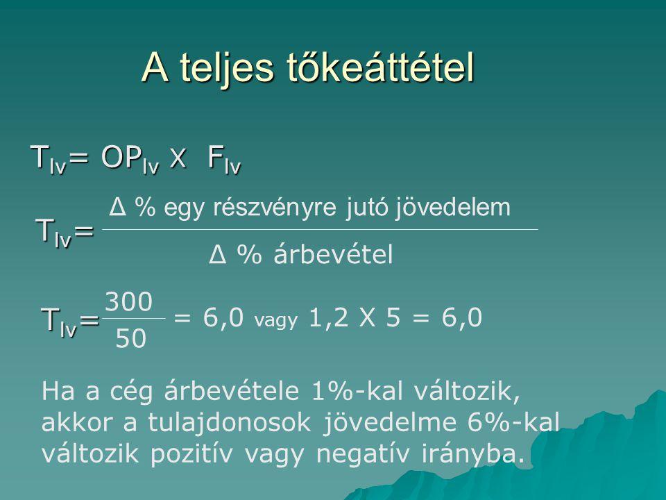 A teljes tőkeáttétel T lv = T lv = OP lv X F lv Δ % egy részvényre jutó jövedelem Δ % árbevétel T lv = 300 50 = 6,0 vagy 1,2 X 5 = 6,0 Ha a cég árbevétele 1%-kal változik, akkor a tulajdonosok jövedelme 6%-kal változik pozitív vagy negatív irányba.