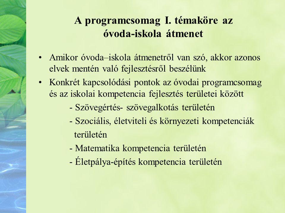 A programcsomag I. témaköre az óvoda-iskola átmenet •Amikor óvoda–iskola átmenetről van szó, akkor azonos elvek mentén való fejlesztésről beszélünk •K