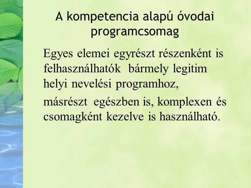 A kompetencia alapú óvodai programcsomag elemei Elméleti alapvetések Komplex Fejlesztési- Tématervek Kiegészítő kiadványok, eszközök Kompetencia alapú óvodai programcsomag