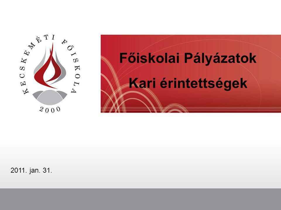 Főiskolai Pályázatok Kari érintettségek 2011. jan. 31.