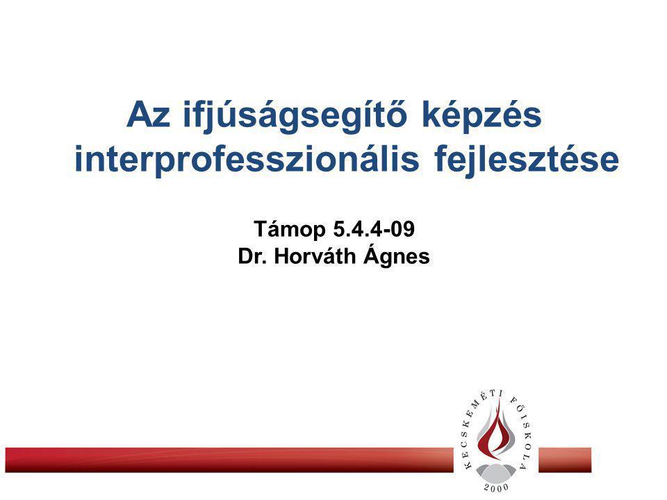 Az ifjúságsegítő képzés interprofesszionális fejlesztése Támop 5.4.4-09 Dr. Horváth Ágnes