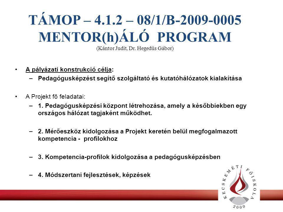 TÁMOP – 4.1.2 – 08/1/B-2009-0005 MENTOR(h)ÁLÓ PROGRAM (Kántor Judit, Dr.
