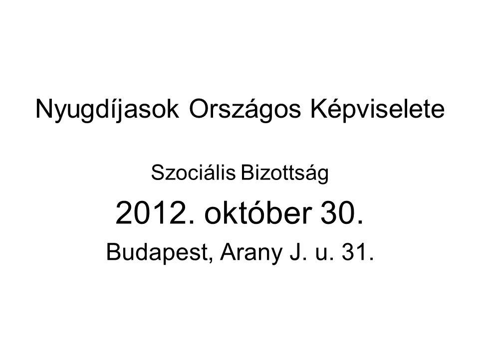 Nyugdíjasok Országos Képviselete Szociális Bizottság 2012. október 30. Budapest, Arany J. u. 31.