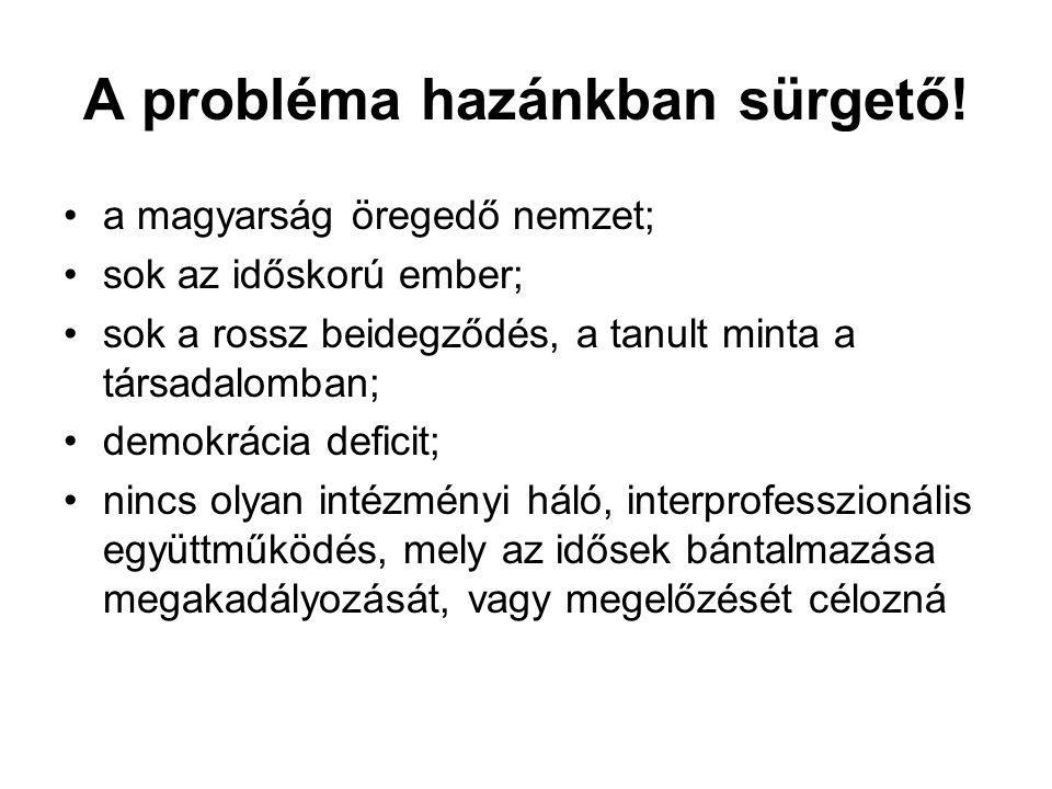A probléma hazánkban sürgető! •a magyarság öregedő nemzet; •sok az időskorú ember; •sok a rossz beidegződés, a tanult minta a társadalomban; •demokrác