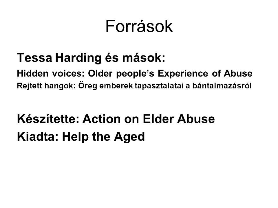 Források Tessa Harding és mások: Hidden voices: Older people's Experience of Abuse Rejtett hangok: Öreg emberek tapasztalatai a bántalmazásról Készíte