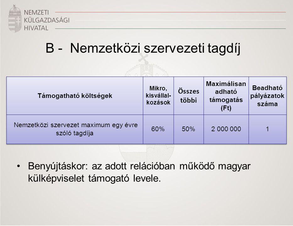 B - Nemzetközi szervezeti tagdíj •Benyújtáskor: az adott relációban működő magyar külképviselet támogató levele.